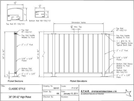 Aluminum Rail Fence Vinyl Fence Product Specifications